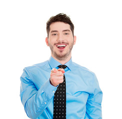 Laughing man pointing finger at someone, on white background