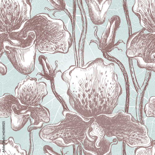 Tapeta Seamless orchid floral pattern. Vector, EPS10