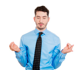 Meditation. Businessman using stress relief techniques