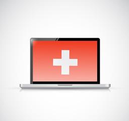 health cross on a laptop screen. illustration