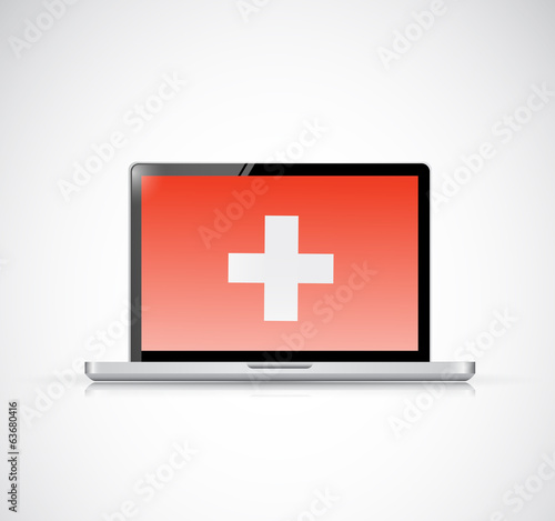 health cross on a laptop screen. illustration
