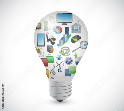 light bulb connection and icons. illustration
