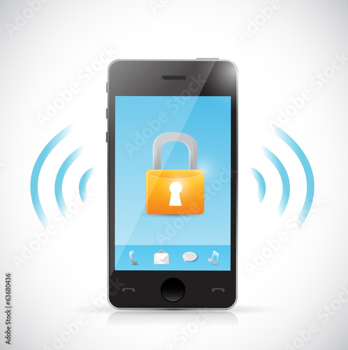 secure mobile online connection illustration