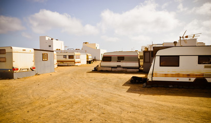 Trailers small town. Slums between hotels. Fuerteventura