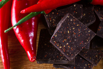 Delicious dark chocolate  and chili peppers