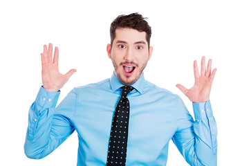 Portrait happy, surprised business man on white background