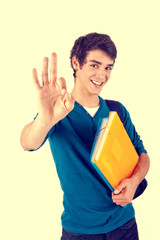 Young happy student showing Ok sign