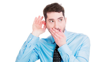 Gossip rumors. Nosy business man boss listening to conversation