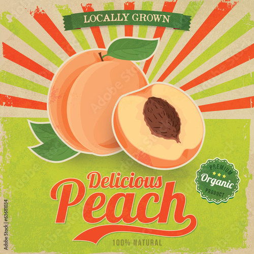 Colorful vintage Peach label poster vector illustration