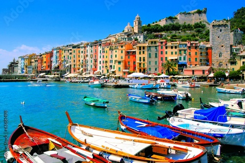 Leinwanddruck Bild Colorful harbor view at Portovenere, Italy with boats