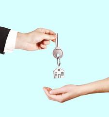 businessman passes key