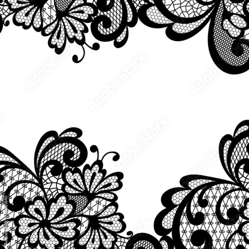 Black vector lace corner
