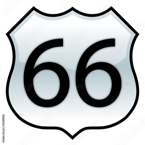 Route 66 sign with glossy effect