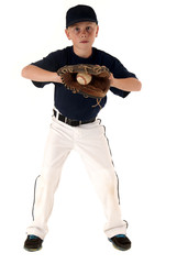 young american caucasian baseball player catching the ball