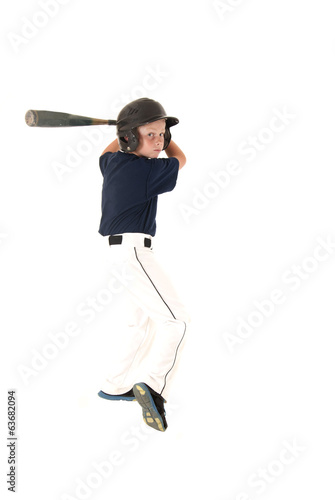 young baseball player batting waiting for a pitch