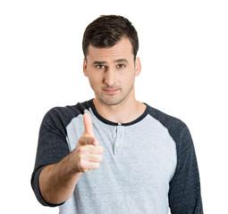 Man using hand gun pointing finger at you camera gesture
