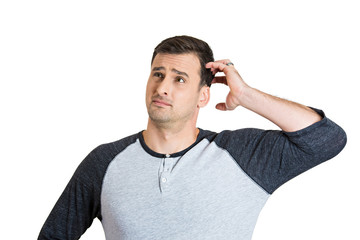 Confused man, scratching head, trying to remember something