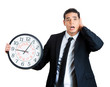 canvas print picture - Businessperson running out of time, holding clock