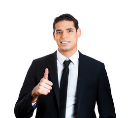 Successful business man giving thumbs up