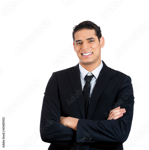 Headshot of smiling confident handsome businessman