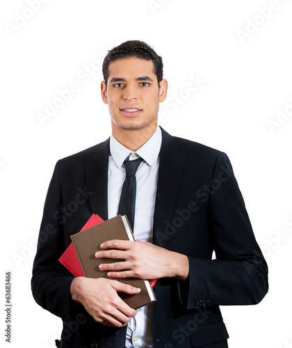 Student, educated business man holding books