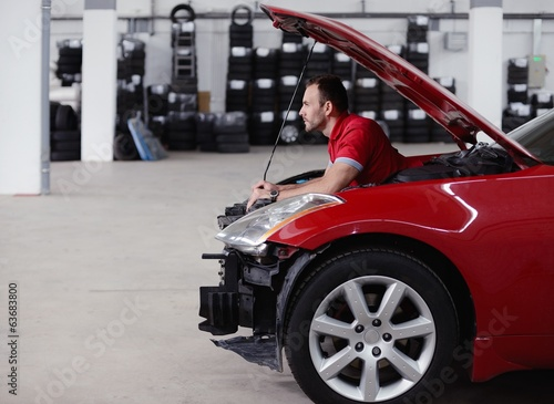 man in place of engine