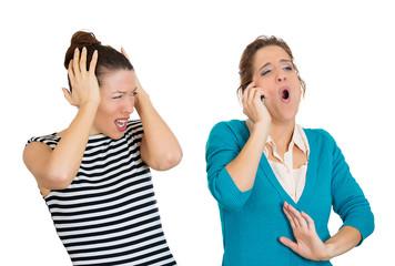 Obnoxious on phone, woman having headache from loud conversation