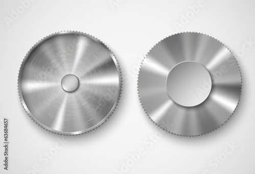 two metal buttons