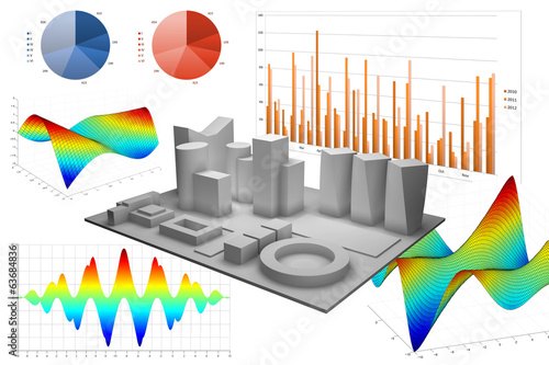 Abstract illustration with different graphs