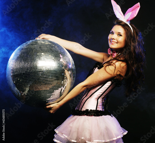 sexy bunny-girl with disco ball