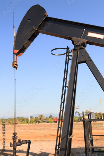 Oil Pump Jack (Sucker Rod Beam) on Sunny Day