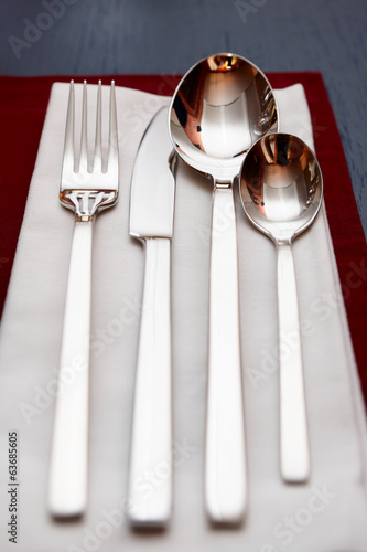 Silverware on restaurant table