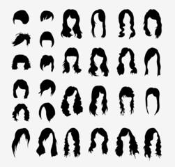 vector set of women's hairstyles