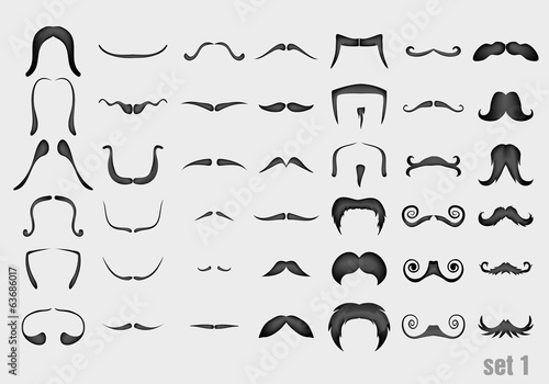 vector set of mustache in retro style