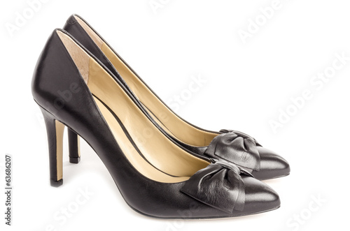 Black Leather High Heel Dress Shoes with Bows