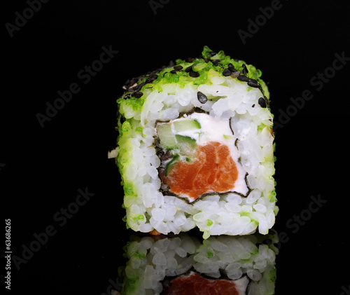 Tasty roll isolated on black