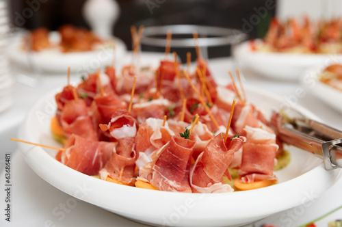 Platter with cured ham