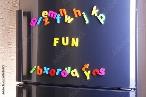 Word Fun spelled out using colorful magnetic letters