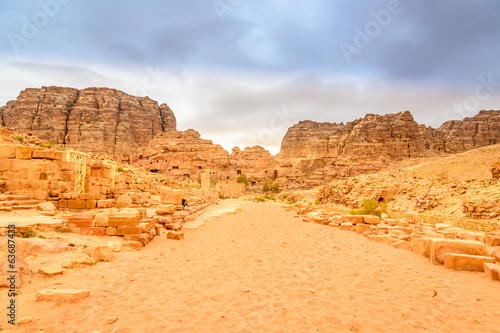 Colonnaded street in Petra, Wadi Musa, Jordan.