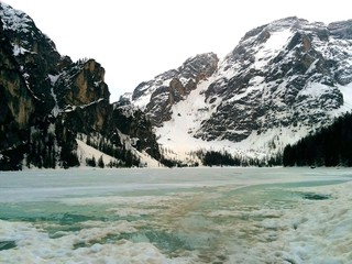 frozen lake Braies at Dolomites