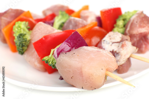 Raw pork kebab close up