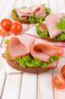 Delicious sandwiches with lettuce and ham on table close-up