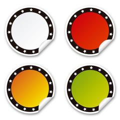 Etiquetas adhesivas redondas con estrellas, colores