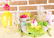 Beautiful spring table setting, top view