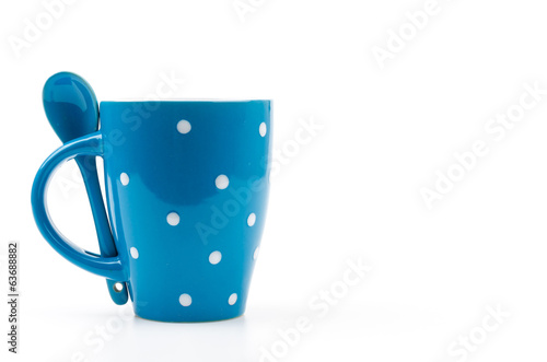 Polka mug cup isolated white background