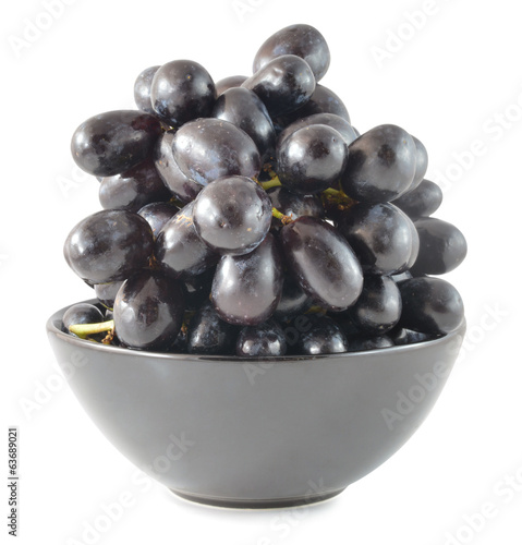 Dark grapes, Isolated on white background
