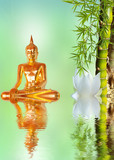 Fototapety Bouddha, bambou et lotus