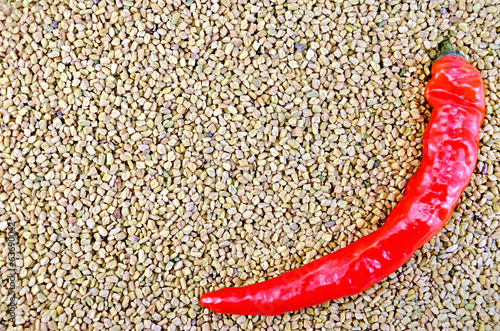 Fenugreek texture with hot pepper