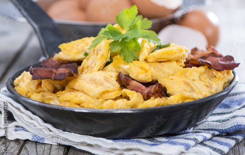 Portion of Scrambled Eggs with Bacon