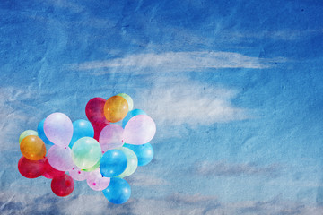balloons in the sky, vintage, texture paper